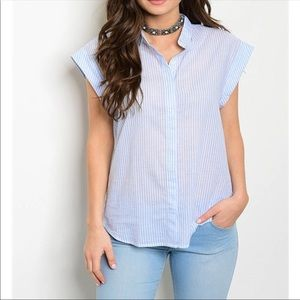 Light blue and white button down top